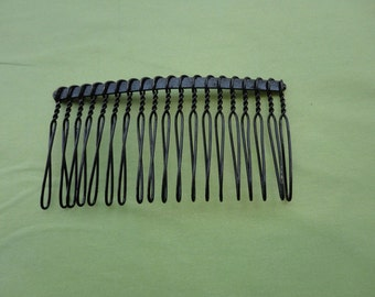 50pcs Black Plated Metal Hair Combs (20 teeth) 75 x39mm--HA25