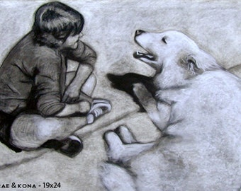 With Human, Charcoal or Sanguine - Custom Pet Portrait Memorial Drawing