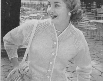 """pdf vintage knitting pattern ladies cardigan 34"""" to 36"""""""