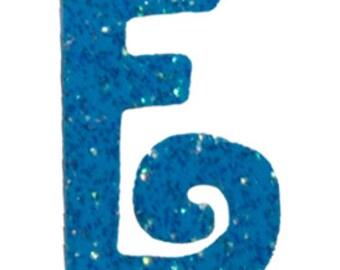 Turquoise Blue Letter E