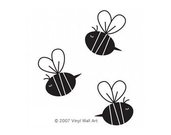 Bee Decals (Set of 3) size LARGE -  Bee Decor, Bee Wall Art, Bee Design, Nursery Bee, Nursery Design, Baby Bee, Child Design, Child Decor,