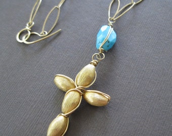 Sleeping Beauty Turquoise Wire Wrapped Vermeil Cross Pendant Long Necklace - Sample Sale - DL