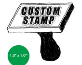 """CUSTOM Rubber Stamp - 1"""" x 1"""" - Logo, Business, Promotion Stamp 1x1"""