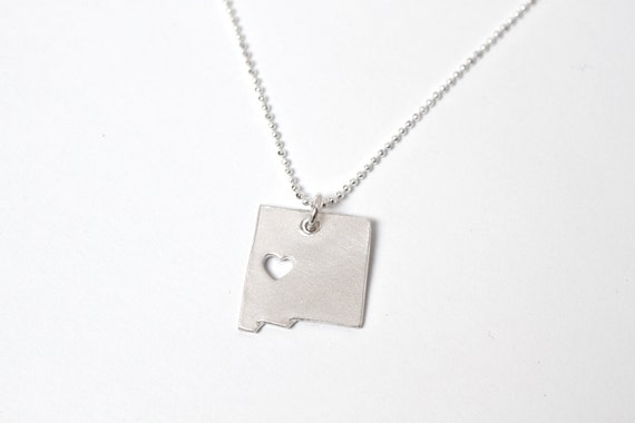 i heart New Mexico State Necklace - Silver - New Mexico Necklace NM Pendant State Necklace State Charm Map Necklace Map Jewelry