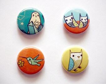 BIRDS / OWLS button set by boygirlparty - set of 4 pinback animal buttons - retro mid century