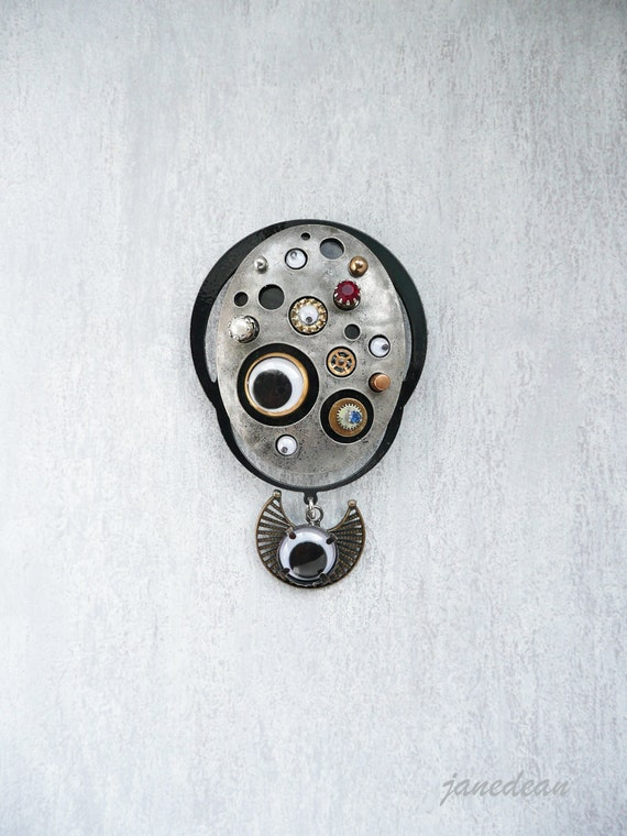 1 Big Industrial Eyes Magnet -  upcycled found object assemblage