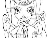 INSTANT DOWNLOAD Digital Digi Stamps Big Eye doll head ~ Angelic Bunny Aviator / Soldier of Love (digital stamp)