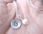 Autism Awareness Custom Hand Stamped Silver Necklace with puzzle piece and freshwater pearl