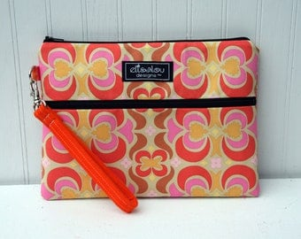 Kindle / iPad Mini / Nook / Sony /  eReader / Padded Pouch / Bag / Wristlet / Orange Garden Maze