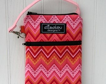 Pink Chevron 2 Pocket Padded Gadget, iPhone, iPod, cellphone, camera, Galaxy