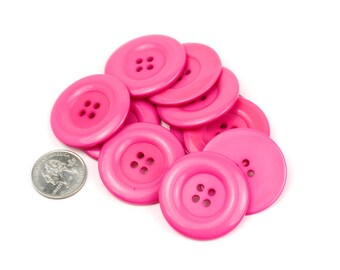 8 Big Hot Pink Resin Buttons - 38mm 1.5 inches - 4 holes - 8 pcs