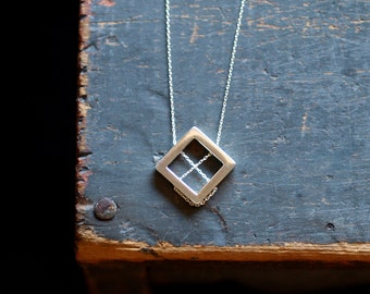 Geometric Necklace, Sterling Silver Statement Necklace, Square Lines, Modern Silver Necklace, Silver Geometry, Cool Unique Handmade Jewelry