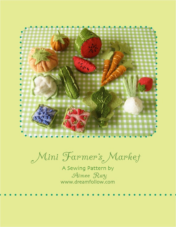 Mini Farmer's Market PDF pattern Doll house miniatures