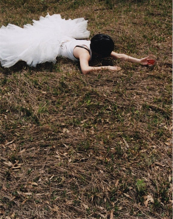 Dont Spill A Drop - FREE SHIPPING Surreal Photo Print Girl White Tulle Wine Brown Green Red Black Nature Grass Weeds Fallen Drunk Wall Art
