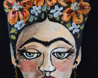 Nasturtium Frida Kahlo Hanging Collectors Ornament - Embellished Acrylic Hand Painted