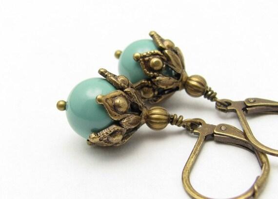 Jade Swarovski Pearl Earrings, Petite Dangle Earrings, Gift Under 20, Free Shipping, Bridal Wedding Bridesmaid