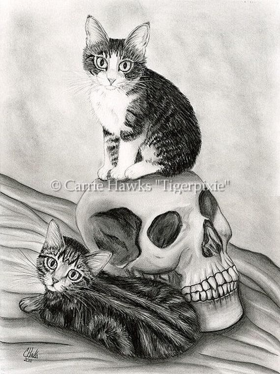Witch's Cat Art Tabby Kittens Cats Skull Gothic Fantasy Cat Art Print 8x10
