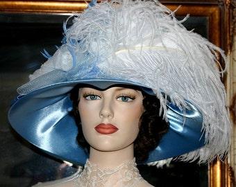 Kentucky Derby Hat Edwardian Tea Hat - Mademoiselle Renoir OAK