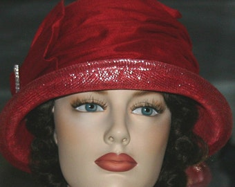 Cloche Hat Flapper Hat Red Gatsby Hat Downton Abbey Hat Church Hat Valentines Red Hat - Mademoiselle Suzette