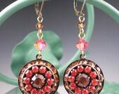 SALE Coral Pink Brown Rhinestone Earrings Padparadscha Topaz Rhinestones Oxidized Brass Dangle Earrings