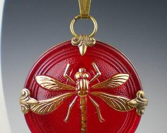 Dragonfly Necklace Red Czech Glass Button Oxidzed Brass Vintage Inspired Jewelry