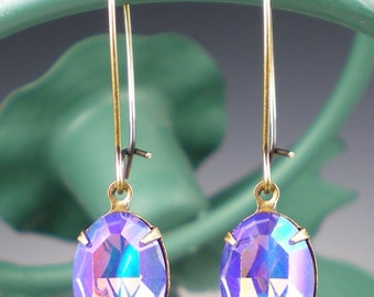 Tanzanite Glacier Blue Rhinestone Earrings Swarovski Lavender Violet Blue Dangle Earrings Jewelry