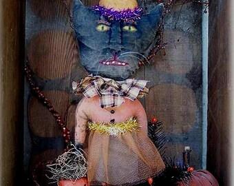 Primitive Black Cat Halloween Pattern EPattern PDF Figurine Doll JOL Pumpkin Clay Bucket   by Hickety Pickety AS41