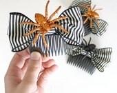 RETIREMENT SALE - Halloween Spider Hair Comb // Orange Glitter Spider