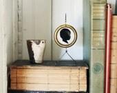 Custom Silhouette . Framed Art . Home Decor . Antique Golden Brass