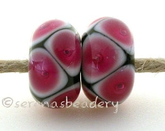 Lampwork Glass Beads HOT PINK Bubble Pair Handmade - TANERES