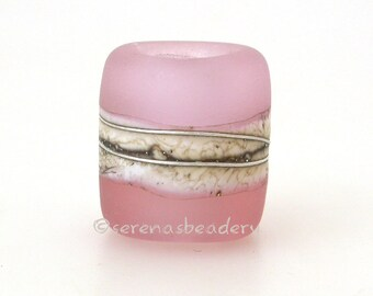 European Charm Frosted AMBER ROSE QUARTZ Matte Lampwork Glass Bead -  sra frosted pink