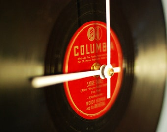Vintage Record Clock - made from Red and Black Columbia Record