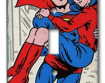 Superman Saves Lois 1970's Vintage Wallpaper Switch Plate