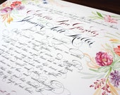 Reserved Listing: Wedding Certificate, Marriage Handpainted - Watercolor and Calligraphy
