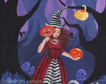 Gothic Halloween witch art striped Alice pumpkin JOL white cat old-fashioned original painting 9 x 12 jack o lantern, blue purple forest