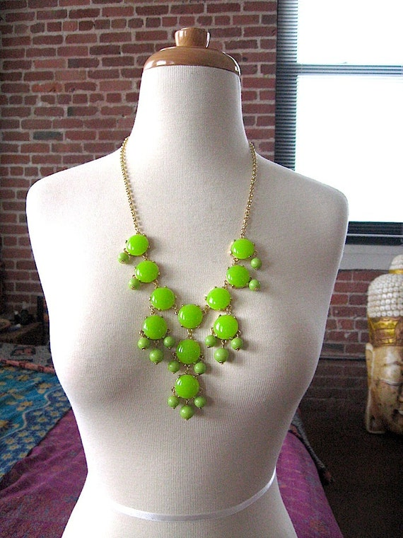 Small Lime Green Statement Necklace USA-  Bright Green Bubble Necklace - A.K.A - Ready to Ship