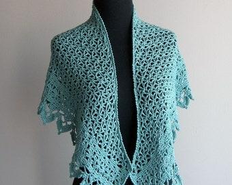 Custom Made Crochet Lace Scarf Prayer Meditation Comfort Shawl Wrap, Sea Foam Teal Green, Pima Cotton Acrylic, Womens Fashion, FREE SHIPPING