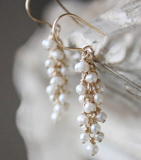 pearl earrings gold white bridal jewelry, wedding earrings