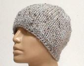Grey marble tweed beanie hat, skull cap, men's hat, women's hat, biker cap, winter hat, knit hat, ski snowboard hat, toque, skateboard