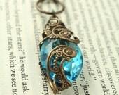 "Vintage Tooled Artisan Brass ""Paisley Pathway"" Czech Glass Necklace"
