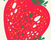 Pink Strawberry Green Mice Screenprint Art Print - Love Friendship Buddies Hand Printed Silkscreen Poster - Good for Kids Rooms & Nursery