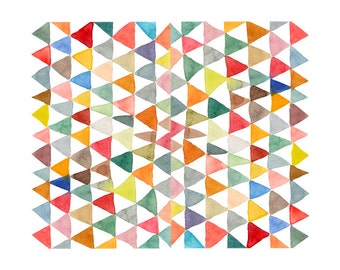 Watercolor Painting Triangle Tapestry - geometric, archival art print, art prints