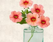 """SALE 50% OFF - Botanical Print - """"Pink Caliabrachoa"""" Fine Art Photography Print in Coral Pink & Aqua, Wall Art, for Mom, Under 20, for Her"""