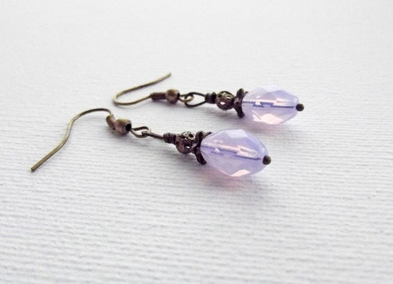 Brass and violet earring (lead and nickel safe hooks)