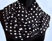 Classic Retro Look Black and White Polka Dot Print  Infinity Scarf Stretch Lycra Cowl Long