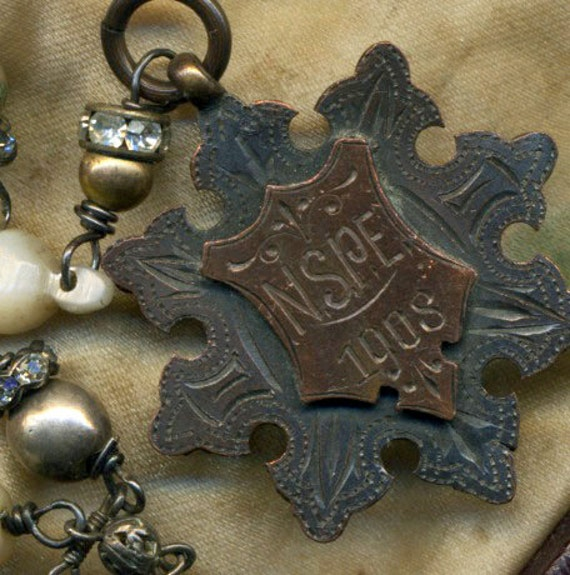 RESERVED---A Beautiful Prize--- A Vintage Assemblage Necklace with Antique Prize Medal and Old Rosary Chain