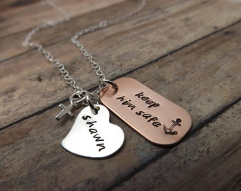 Handstamped-personalized-military-sterling silver necklace-Keep him safe deployment necklace