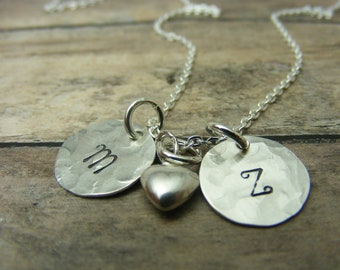 Mommy necklace-Handstamped-personalized-sterling silver necklace- name necklace-two discs-heart