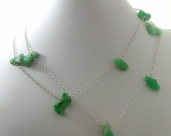 Bright Green Chrysoprase Gemstone Long Sterling Silver Statement Necklace - Christian Jewelry - HOSANNA Collection