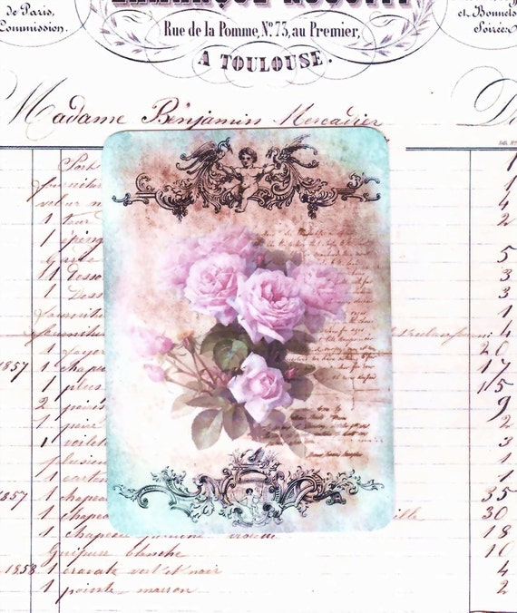 Blank Note Cards ,  Rose Cards , Faded French Roses